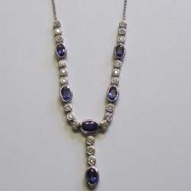 18ct white gold sapphire and diamond necklace.