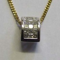 18ct yellow gold and princess-cut pave diamond pendant.