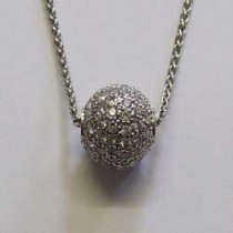 18ct white gold pave diamond ball necklace.