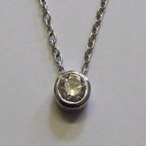 18ct white gold rub-over set diamond necklace.