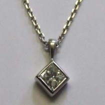 18ct white gold princess-cut diamond pendant.