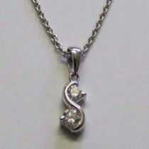 18ct white gold 2 diamond pendant.