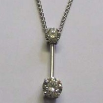 18ct white gold 2 stone diamond pendant.