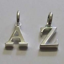 Sterling silver alphabet charms, by Molly Brown.