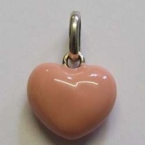 Molly Brown sterling silver and enamel, pale pink heart charm.