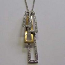 18ct white/rose gold and diamond Domino pendant, by Chimento.