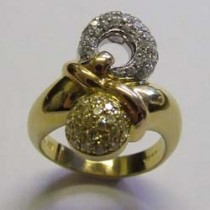 18ct three colour gold diamond and canary yellow diamond dress ring.