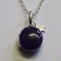 "Silver Lulu locket, small purple ""16 silver chain."