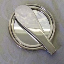 Sterling Silver folding handbag mirror.