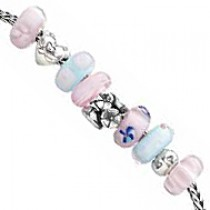 Trollbeads - Pink Hearts and Flowers Style Bracelet B009