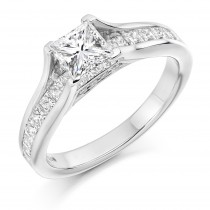 Princess Cut Diamond Solitaire, with Diamond Set Shoulders