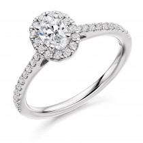 Oval Cut Diamond Engagement ring with Diamond Halo & Shoulders