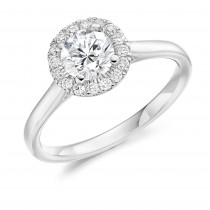 Round Brilliant Cut Diamond Engagement Ring with Diamond Halo