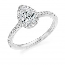 Pear Cut Diamond Engagement Ring with Diamond Set Halo & Shoulders