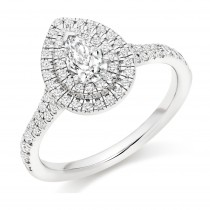 Pear Shaped Diamond Double Halo Engagement Ring