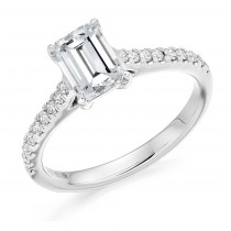 Emerald Cut Diamond Solitaire with Diamond Set Shoulders