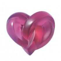 Lalique - Fuchsia Hearts Sculpture.