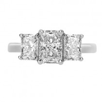 Platinum & Diamond Radiant Cut Three Stone Ring