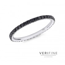 18CT WHITE GOLD AND BLACK DIAMOND MICRO-SET ETERNITY RING