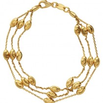 Links of London - Vermeil Essential Beaded Chain 3 Row Bracelet. 5010.3675