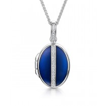 18ct White Gold, Diamond & Blue Enamelled Oval Locket with Adjustable Chain