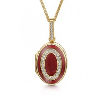 18ct Yellow Gold, Diamond & Red Enamelled Oval Locket with Adjustable Chain