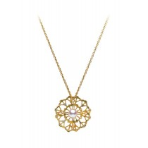 Mikimoto Lace Pendant Yellow Gold