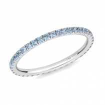 18CT WHITE GOLD AND BLUE TOPAZ MICRO-SET ETERNITY RING