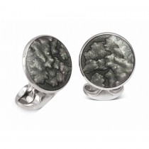 Deakin & Francis - Sterling Silver Summer Haze Enamel Cufflinks in Dark Grey