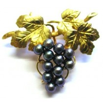 9ct Yellow Gold Grape Vine Brooch