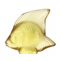 Lalique - Fish Scultpture, Yellow Gold Crystal