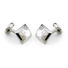 Deakin & Francis - Sterling Silver Oblong Cufflinks with White Mother of Pearl Inlay