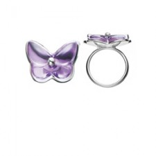 Baccarat Crystal And Silver Papillon Ring 2804129
