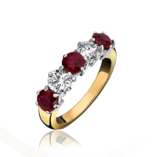18ct Yellow Gold Ruby & Diamond Five Stone Eternity Ring