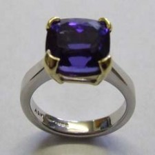 18ct White gold & tanzanite ring in a yellow gold claw setting