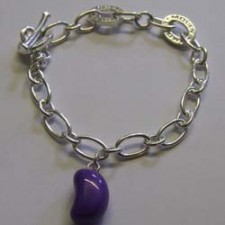 Grape jelly bean charm bracelet, by Molly Brown.