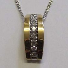 18ct rose and white gold, diamond channel set pendant, by Chimento.