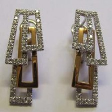 18ct white and rose gold, diamond Domino earrings, by Chimento.