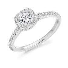Platinum & Diamond Halo Engagement Ring
