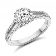 Diamond Halo Split Shoulder Engagement Ring