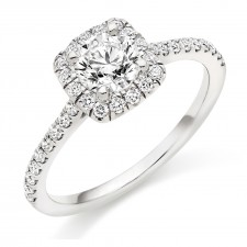 Round Brilliant Cut Diamond Engagement Ring with Diamond Set Halo & Shoulders