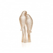 Lalique - 2 Parakeets Sculpture, Gold Luster