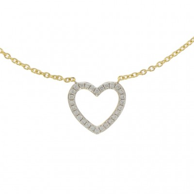 18ct Yellow Gold & Diamond Open Heart Necklace