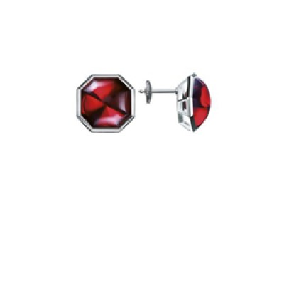 Baccarat L'Illustre Red Mirror Crystal & Silver Stud Earrings 2611982