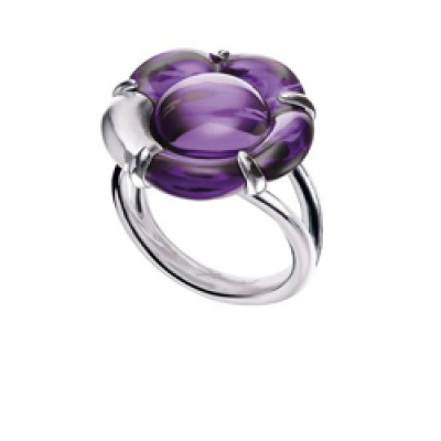 Baccarat B Flower Small Purple Mirror Crystal & Silver Ring 2803454