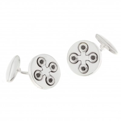 Chimento - gents sterling silver and black diamond 'connection' cufflinks