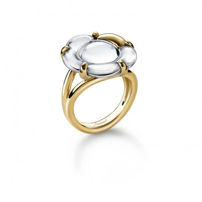 Baccarat B Flower Small Clear Mirror Crystal & Vermeil Ring 2803459