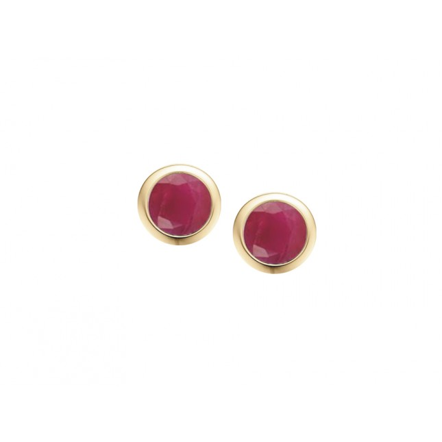 9CT YELLOW GOLD RUB-OVER RUBY STUD EARRINGS