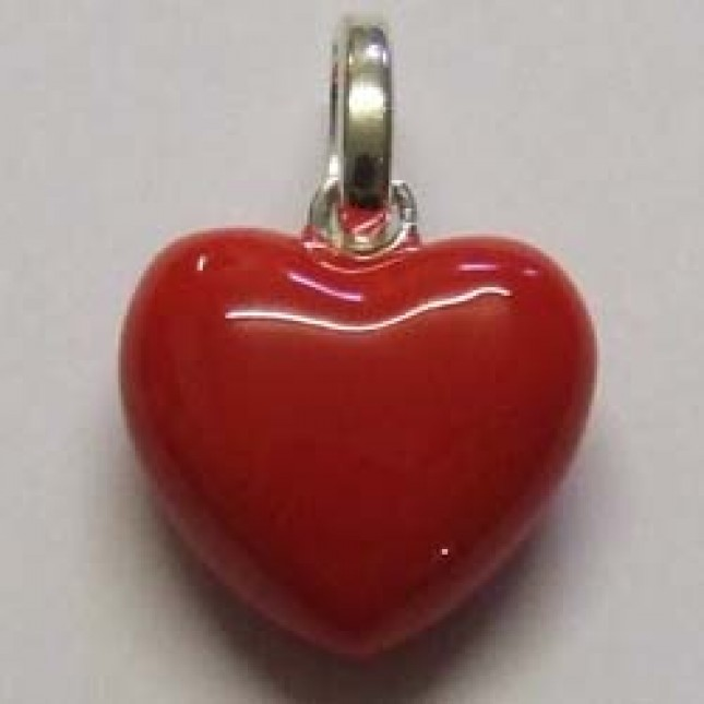 Molly Brown sterling silver and enamel, red heart charm.