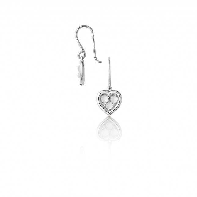 Links of London - Open Heart Sterling Silver, Moonstone & Diamond Pendant Earrings
